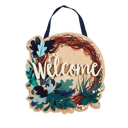 Feathers and Leaves Wreath Door Décor 2DHB1650 Evergreen Door Hanger
