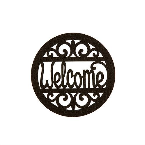 """WELCOME"" 10"" Black Embossed Felt Pin-On for Door Decor 20078P"