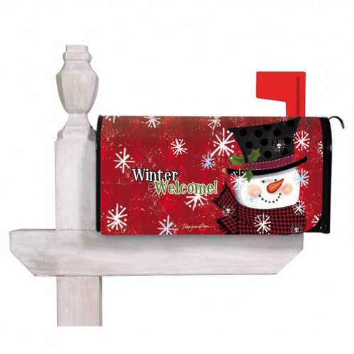 Winter Welcome Snowman Evergreen Mailbox Cover 56688
