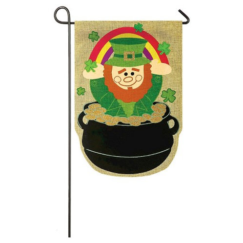 "Lucky Leprechaun 14B3579 Evergreen Burlap Garden Flag 12.5"" x 18"""