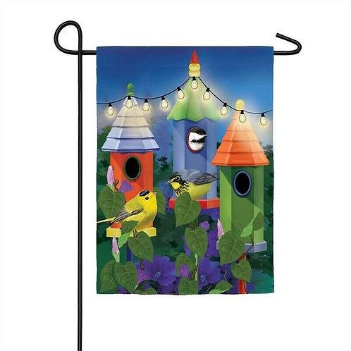 "Birdhouse Lights Solar LED LIGHT UP 14SL8496 Garden Flag 12.5"" x 18"""