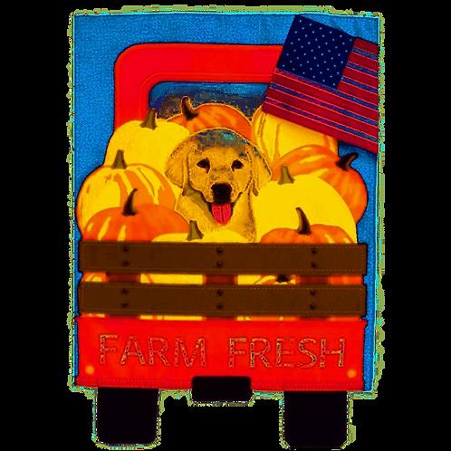 """Farm Fresh Puppy 14L4510 Evergreen Linen Garden Flag 12.5"""" x 18"""""""