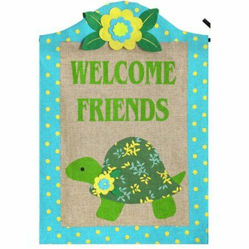 """Turtle 14B3721 Evergreen Burlap Garden Flag 12.5"""" x 18"""""""