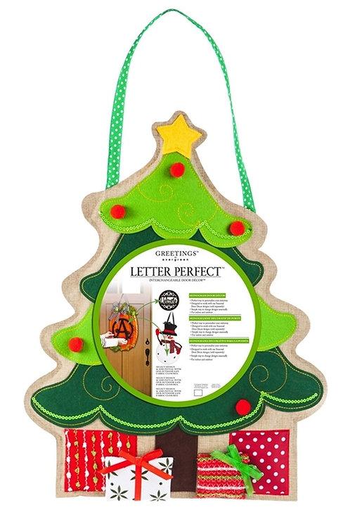 Christmas Tree Monogram Door Decor 2DHB1206 Evergreen Door Hanger