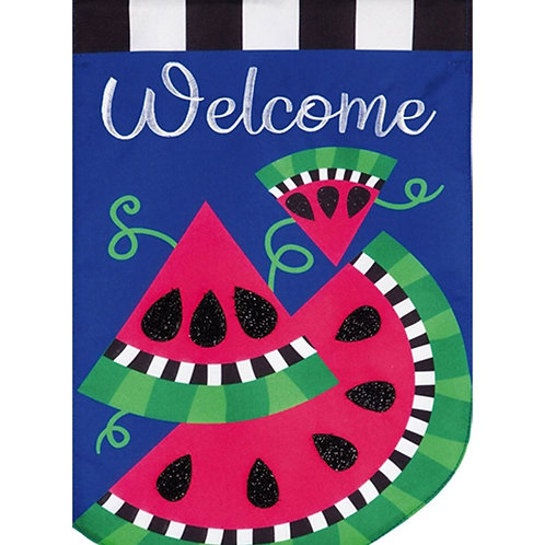 "**OPEN FLAG** Watermelon Welcome 13L8505 Evergreen Applique HOUSE Flag 28"" x 44"""