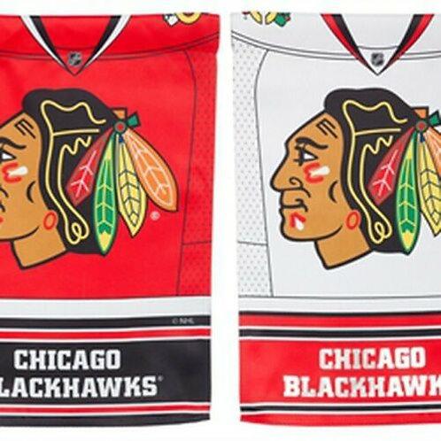 "NHL Team Sports Chicago Blackhawks 14S4355BLJ Suede FOIL Garden Flag 12.5"" x 18"""