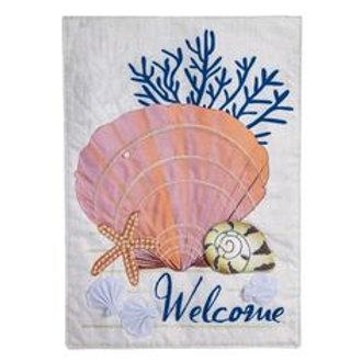 """Seashells 14L4430BL Evergreen Linen Garden Flag 12.5"""" x 18"""""""