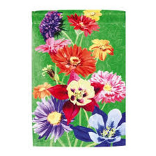 """**OPEN FLAG** Colorful Flowers 13A3604  Evergreen Satin HOUSE Flag 28"""" x 44"""""""