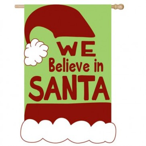 """**OPEN FLAG NO PACKAGING** We Believe in Santa Applique HOUSE Flag 28"""" x 44"""""""