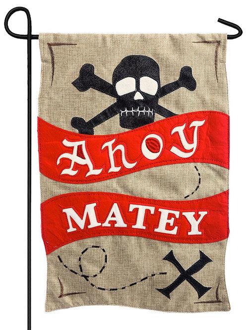 "Ahoy Matey 14B3772BL Evergreen Burlap Garden Flag 12.5"" x 18"""