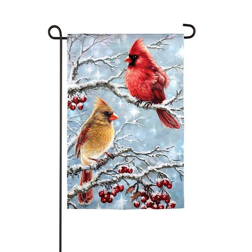 "Winter Cardinals 14S9352 Evergreen Suede Garden Flag 12.5"" x 18"""