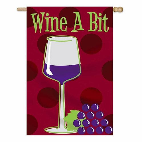 "Wine A Bit 15FB043 LIGHT-UP Evergreen Nylon HOUSE Flag 28"" x 44"""