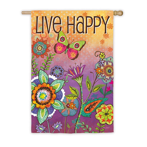 "**OPEN FLAG** Live Happy 13S2847 Evergreen Suede HOUSE Flag 28"" x 44"""