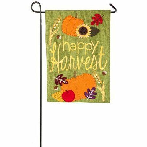 "Happy Harvest 14L4515BL Evergreen Linen Garden Flag 12.5"" x 18"""