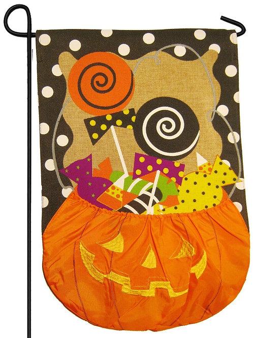 """Halloween Candy Treat 14B3475BL Evergreen Burlap Garden Flag 12.5"""" x 18"""""""