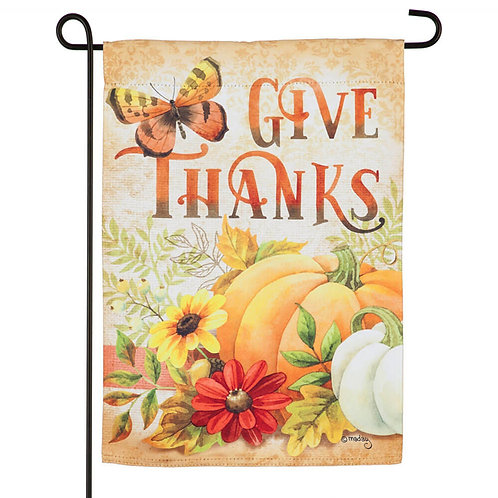 "Give Thanks 14S9212 Evergreen Suede Garden Flag 12.5"" x 18"""