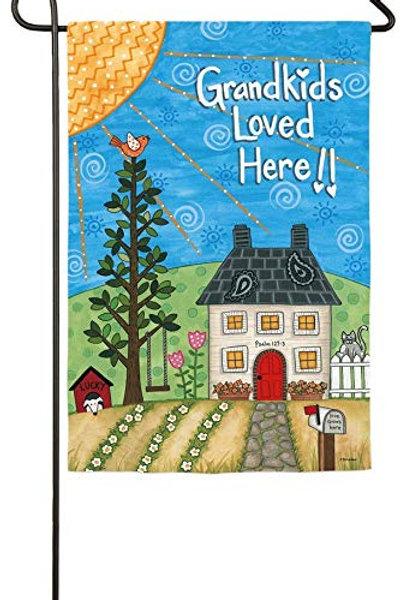 """Grandkids Loved Here 14S3985 Evergreen Suede Garden Flag 12.5"""" x 18"""""""