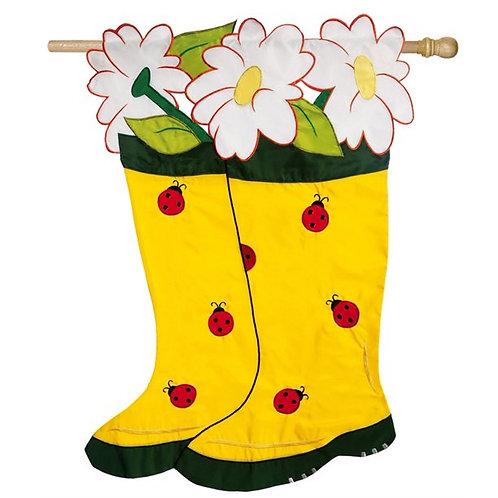 """**OPEN FLAG** Garden Boots 151208 Evergreen Applique HOUSE Flag 28"""" x 44"""""""