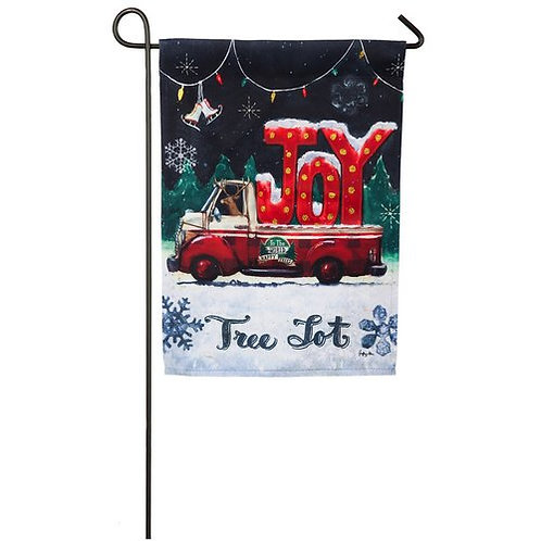 "Tree Lot Plaid Joy 14S3954BL Evergreen Suede Garden Flag 12.5"" x 18"""