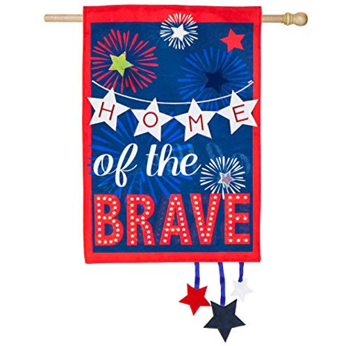 """Home of The Brave 13L4860 Evergreen Linen HOUSE Flag 28"""" x 44"""""""