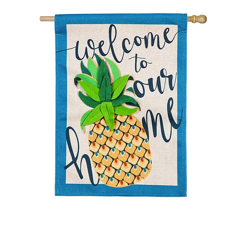"Welcome to Our Home Pineapple 13B8523 Evergreen Burlap HOUSE Flag 28"" x 44"""