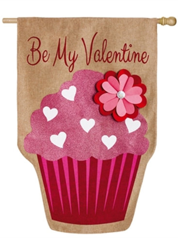 """**OPEN FLAG NO PACKAGING** Be My Valentine 13B3574BL Burlap HOUSE Flag 28"""" x 44"""""""
