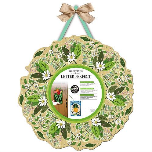 Spring Foliage Letter Perfect Burlap Door Décor 2DHB1292 Evergreen Door Hanger