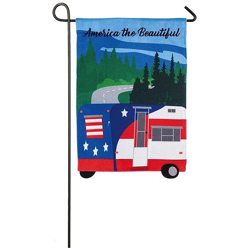 "America the Beautiful Camper 14B8511 Evergreen Burlap Garden Flag 12.5"" x 18"""