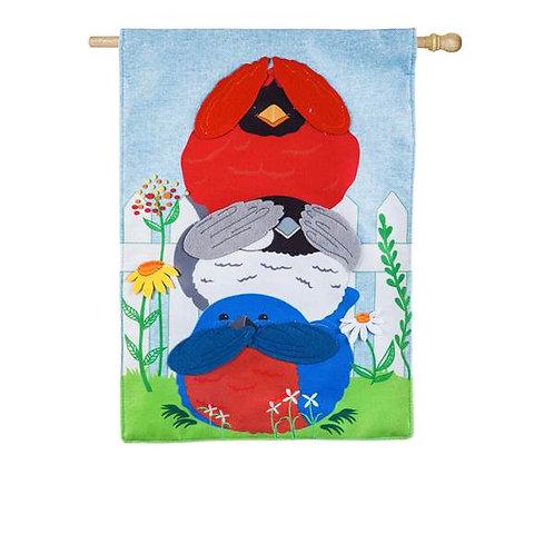 """**OPEN FLAG** Portly Birds 13B4754 Evergreen Burlap HOUSE Flag 28"""" x 44"""""""