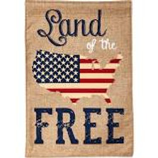 "Land of the Free 13B3737 Evergreen Burlap HOUSE Flag 28"" x 44"""