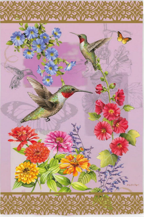 "Hummingbird Botanical 142518 Evergreen Silk Garden Flag 12.5"" x 18"""