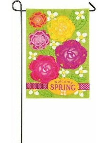 "Welcome Spring Garden Flowers 14B4028 Evergreen Burlap Garden Flag 12.5"" x 18"""