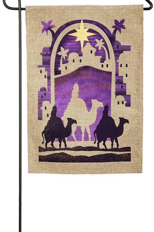 "Camel 14B3881 Burlap Evergreen Garden Flag 12.5"" x 18"""