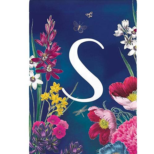 "Vivid Bouquet Monogram 14S8440 Evergreen Suede Garden Flag 12.5"" x 18"""