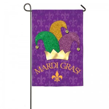 "Mardi Gras Hat 168173BL Evergreen Applique Garden Flag 12.5"" x 18"""