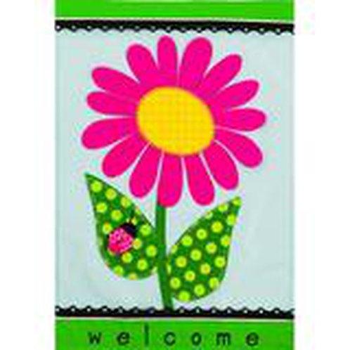 "**OPEN FLAG** Welcome Daisy 158631BL  Evergreen Applique HOUSE Flag 28"" x 44"""