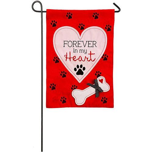 "Forever in My Heart 168662 Evergreen Applique Garden Flag 12.5"" x 18"""