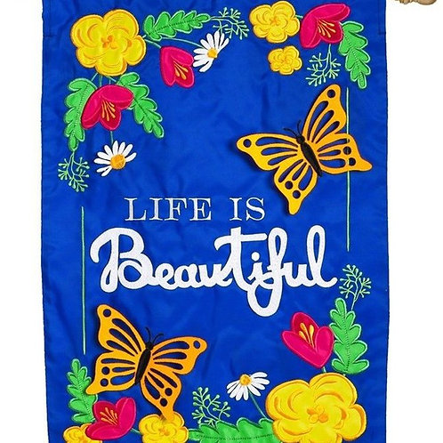 "Life is Beautiful 158647BL Evergreen Applique HOUSE Flag Spring 28"" x 44"""