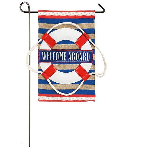 "Nautical Welcome 14B3768BL Evergreen Burlap Garden Flag 12.5"" x 18"""