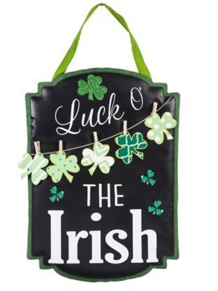 St. Patrick's Day Chalkboard Burlap Door Decor 2DHB1400 Evergreen Door Hanger