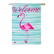 "**OPEN FLAG NO PACKAGING** Flamingo Stripes 138495 Suede HOUSE Flag 28"" x 44"""