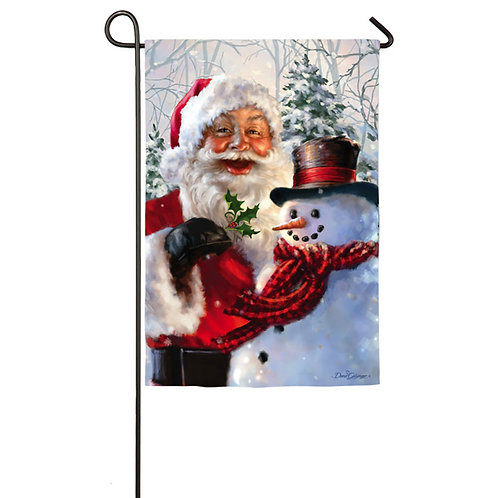 "Santa & Frosty ZHD14A3519 Evergreen Satin Garden Flag 12.5"" x 18"""