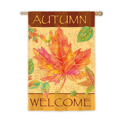 """**Open Flag** Big Maple Autumn 13S2649  Evergreen Suede HOUSE Flag 28"""" x 44"""""""