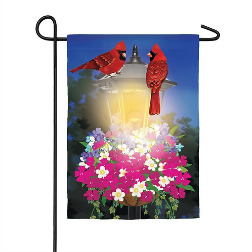 "Floral Lamp Post Gathering Solar LED LIGHT UP 14SL8497 Garden Flag 12.5"" x 18"""