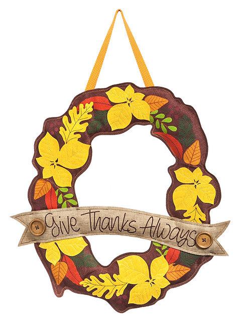 Give Thanks Always Door Decor 2DHB1068 Evergreen Door Hanger
