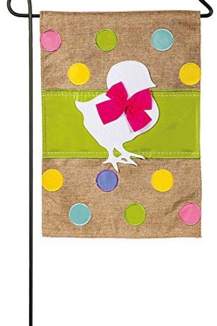 "Easter Chick 14B3595 Evergreen Burlap Garden Flag 12.5"" x 18"""