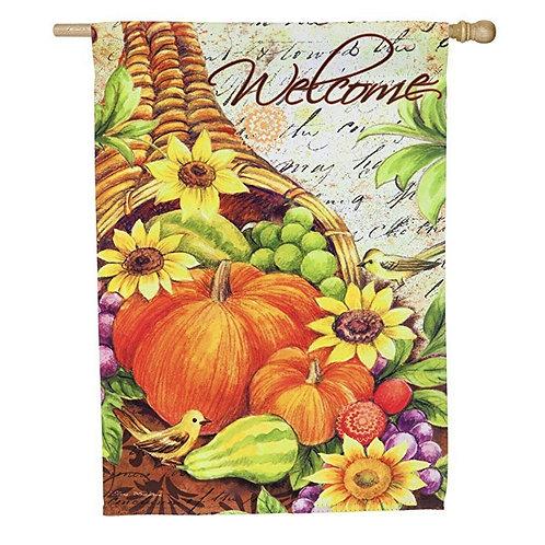 "Cornucopia with Sunflowers 13S4641 Evergreen Suede HOUSE Flag 28"" x 44"""