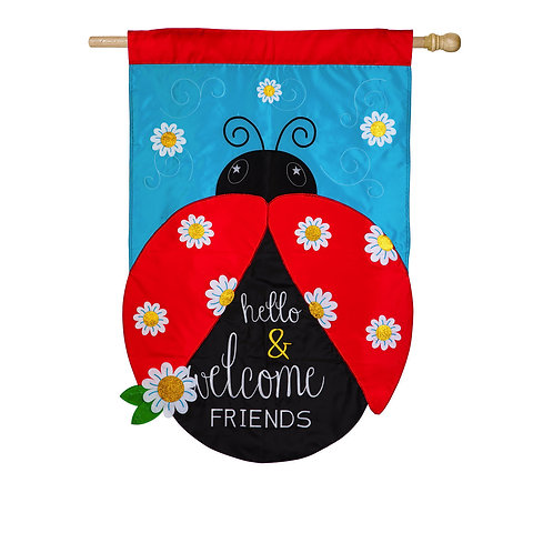 """Hello and Welcome Friends 158725 Evergreen Applique HOUSE Flag 28"""" x 44"""""""