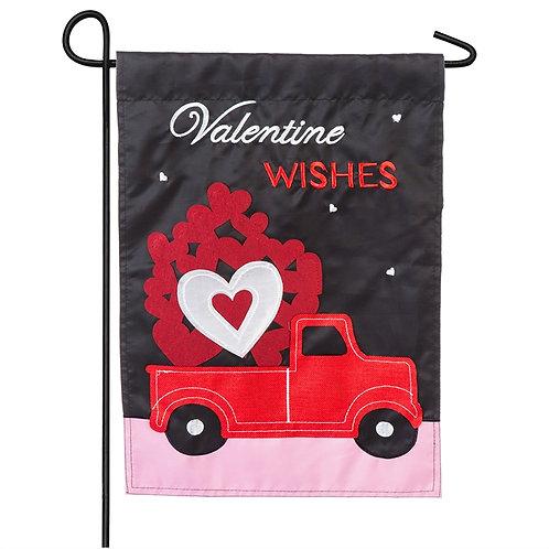 """Truckload of Hearts 168890SA Evergreen Applique Garden Flag 12.5 x 18"""""""