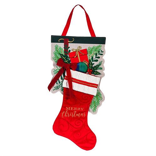 Merry Christmas Stocking Door Decor 2DHB1596 Evergreen Door Hanger